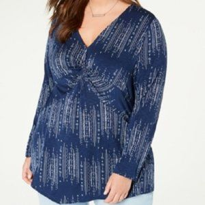 New Style & Co Twist Front Asymmetric Top Shirt
